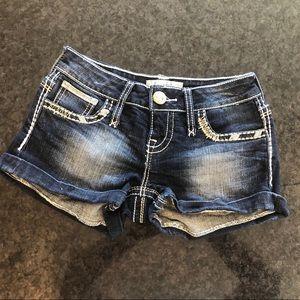 Daytrip Scorpio blue jean sequin Shorts size 25